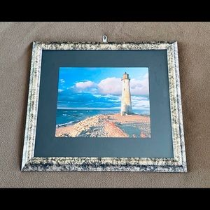 Lighthouse Picture In Steel Frame